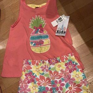 Girls pineapple Hawaiian print tank and shirt set